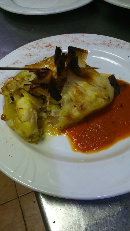 Sac de Ajoarriero sobe salsa Vizcaína
