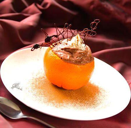 Naranja rellena de nutella y coco