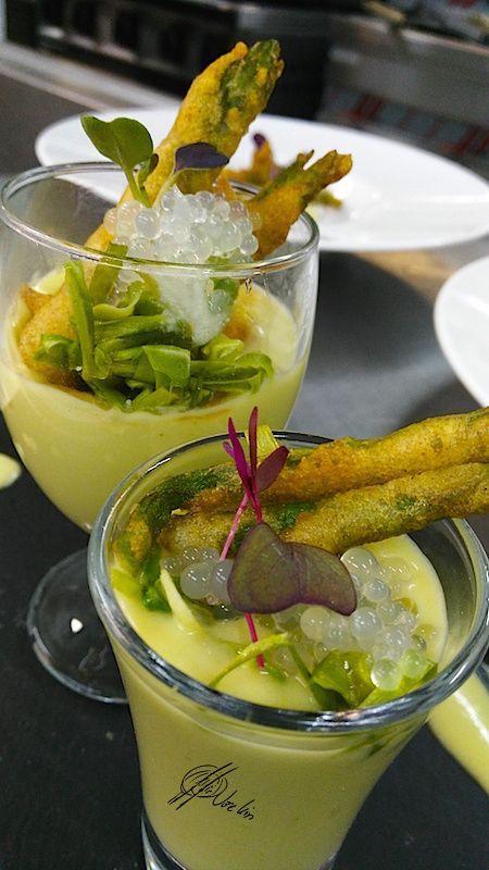 Gazpacho de trigueros en texturas