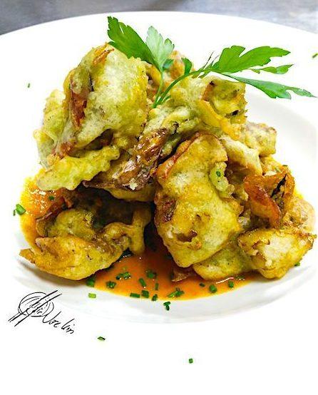 Cangrejos de concha blanda en tempura