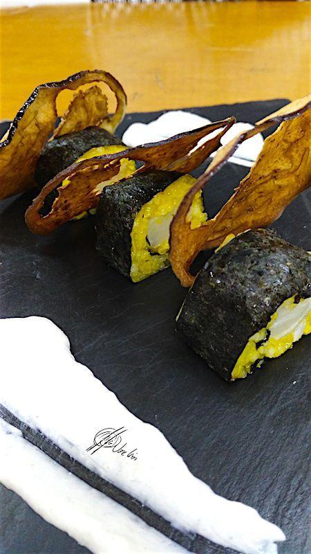 Sushi de bacalao, azafrán y berenjena caramelizada