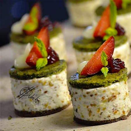 Galletas de pistacho con stracciatella de avellanas